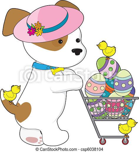 Cute Dog Easter Eggs - csp6038104