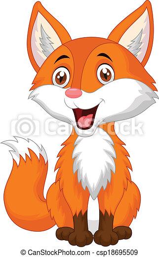 Cute fox cartoon - csp18695509