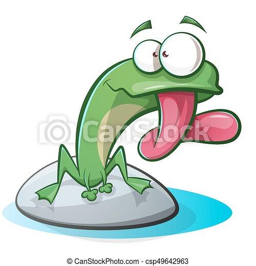 Cute, funny frog cartoon - csp49642963