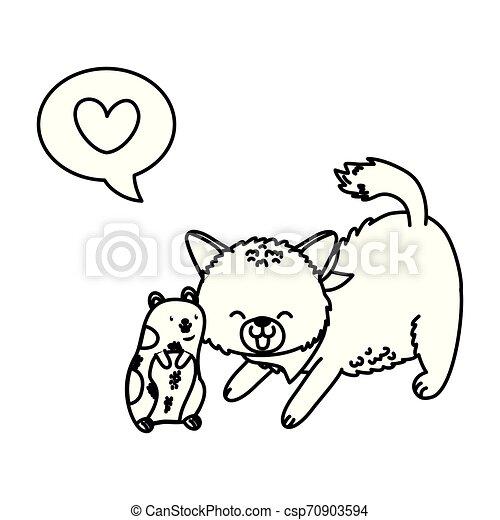 cute funny pets cartoon - csp70903594