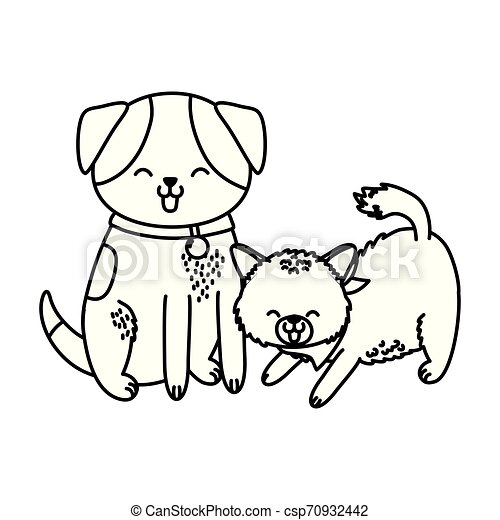 cute funny pets cartoon - csp70932442