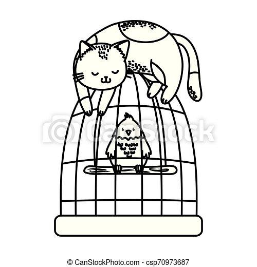 cute funny pets cartoon - csp70973687