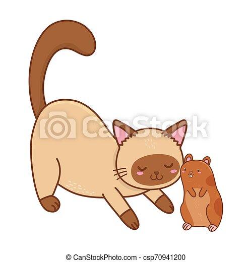 cute funny pets cartoon - csp70941200