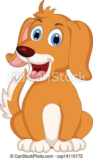 cute little dog cartoon expression - csp14110172