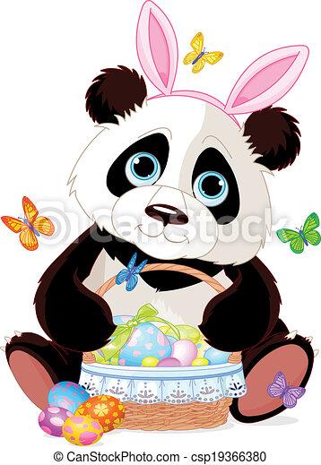 Cute Panda with Easter basket - csp19366380