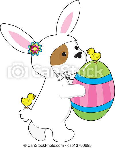 Cute Puppy Bunny Suit - csp13760695