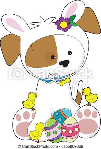 Cute Puppy Easter - csp5809069