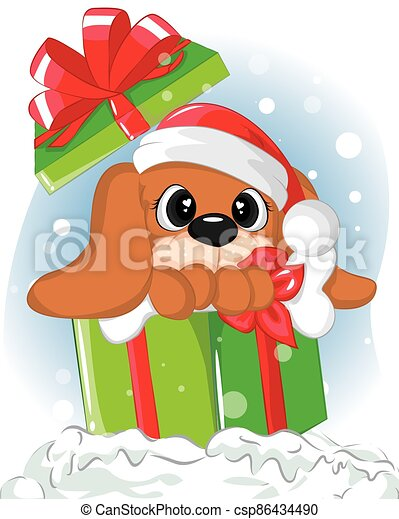 Cute puppy inside gift boxes. Illustration christmas card of lovely dog in box - csp86434490