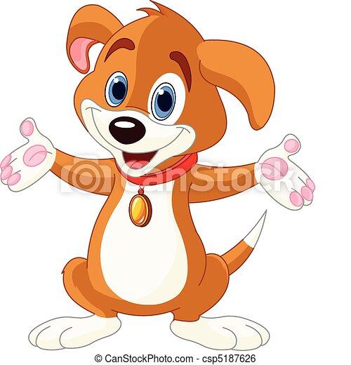 Cute Puppy raising his hands - csp5187626