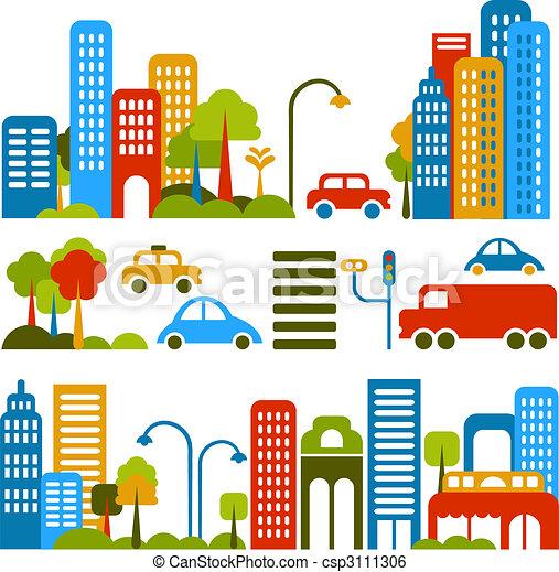 Cute vector illustration of a city street - csp3111306