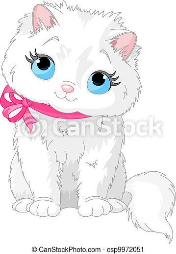 Cute white cat - csp9972051