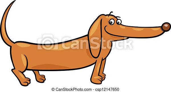 dachshund dog cartoon illustration - csp12147650