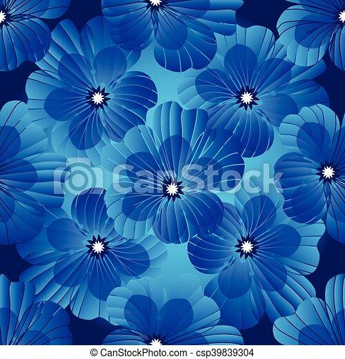 Dark blue floral seamless pattern - csp39839304