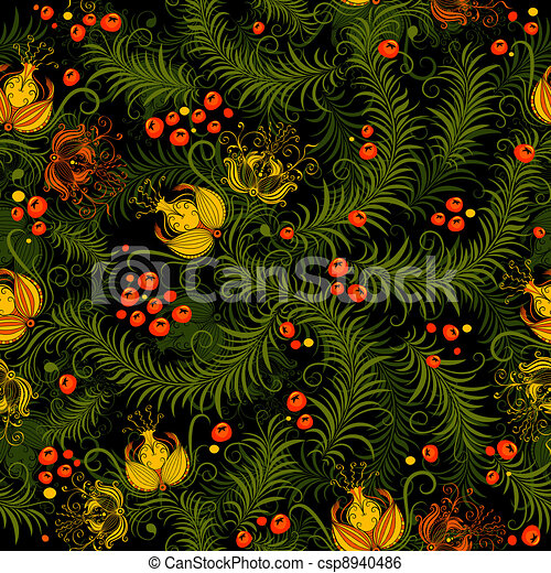 Dark floral seamless pattern - csp8940486