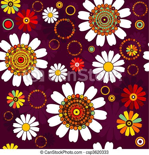 Dark seamless floral pattern - csp3620333
