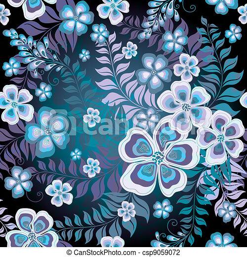 Dark seamless floral pattern - csp9059072