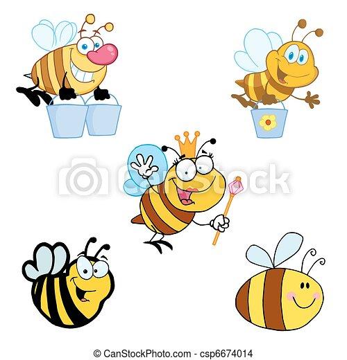 Different Bee Cartoon - csp6674014