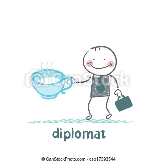 diplomat with a cup of tea - csp17393544