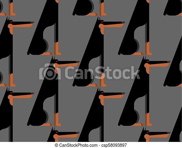 Doberman pattern seamless. dog background. Pet ornament. Vector illustration - csp58093897
