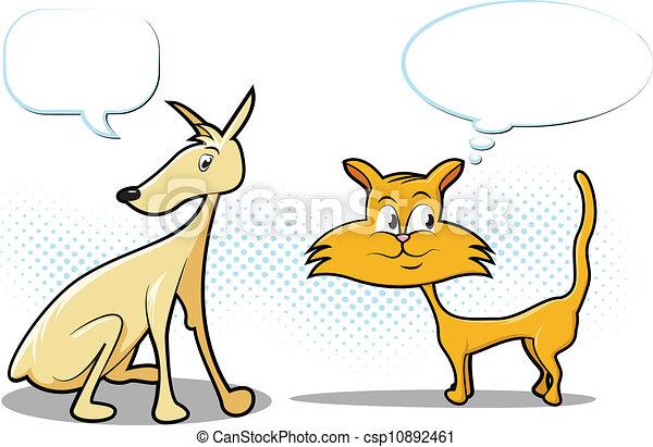 Dog and Cat Cartoon - csp10892461