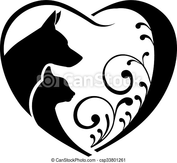 Dog and Cat love heart. Vector graphic - csp33801261