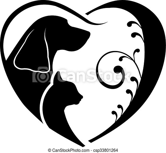 Dog and Cat love heart. Vector graphic - csp33801264