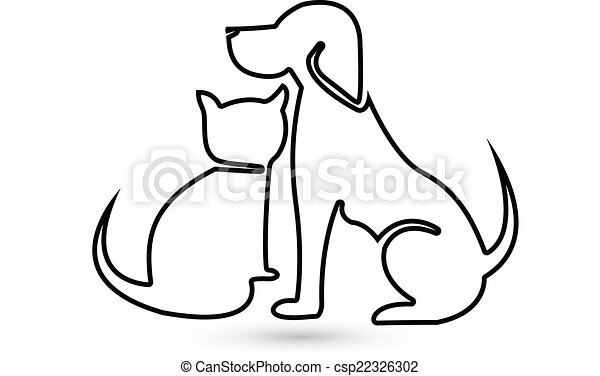 Dog and Cat silhouette logo - csp22326302