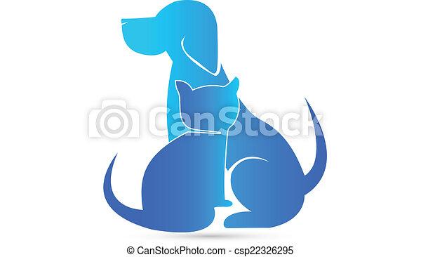 Dog and Cat veterinary logo - csp22326295