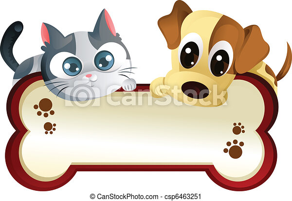 Dog and cat with banner - csp6463251