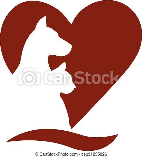 Dog cat love heart logo - csp31255026