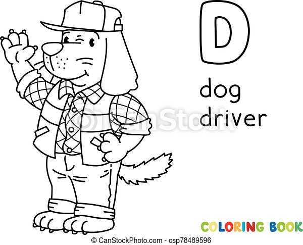 Dog driver ABC coloring book. Alphabet D - csp78489596