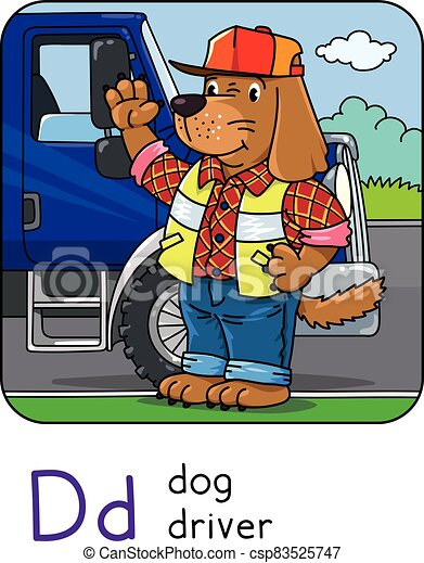 Dog driver Animals and professions ABC. Alphabet D - csp83525747