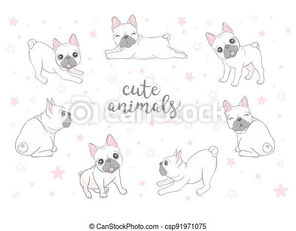 Dog icon french bulldog illustration vector dog breed doodle - csp91971075