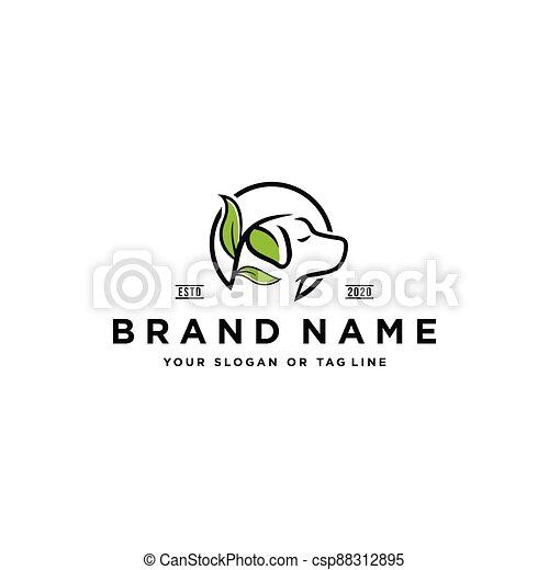 dog leaf logo design vector - csp88312895