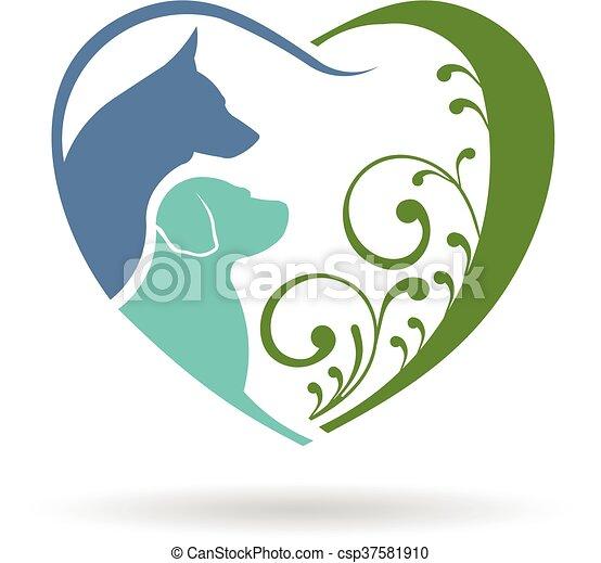 Dog love heart logo. Vector graphic design - csp37581910