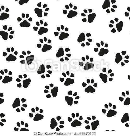 Dog Paw seamless pattern vector footprint kitten puppy tile background repeat wallpaper cartoon isolated illustration white - Vector illustration - csp66570122
