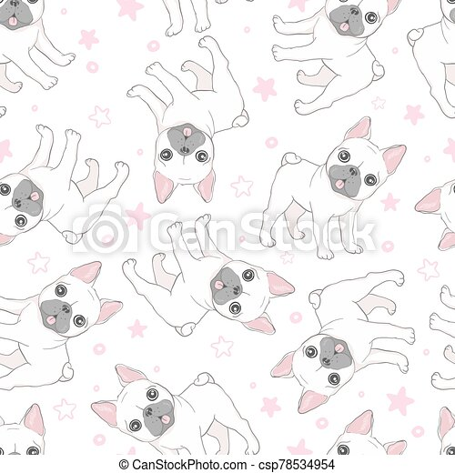 Dog seamless pattern french bulldog paw vector repeat background tile cartoon wallpaper isolated black - csp78534954