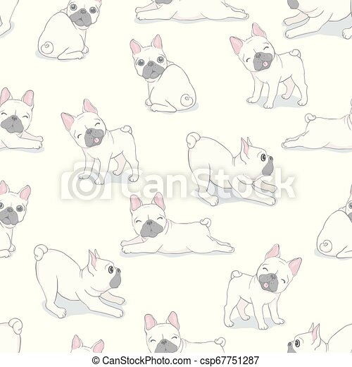 Dog seamless pattern french bulldog paw vector repeat background tile cartoon wallpaper isolated black - csp67751287