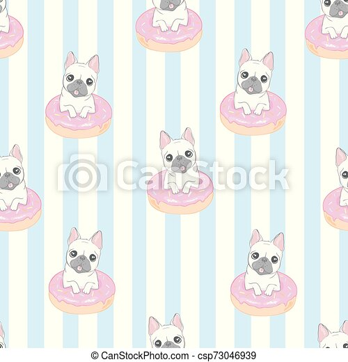 Dog seamless pattern french bulldog paw vector repeat background tile cartoon wallpaper isolated black - csp73046939
