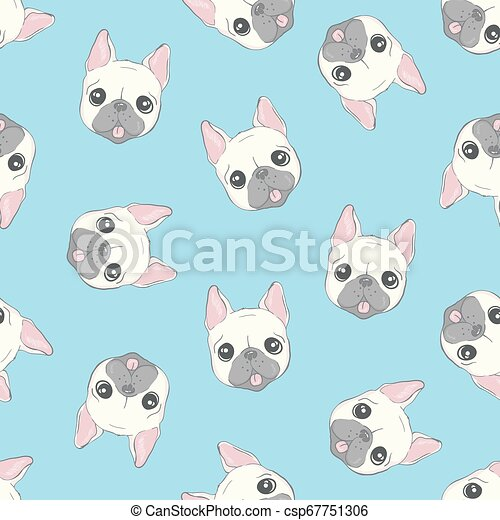 Dog seamless pattern french bulldog paw vector repeat background tile cartoon wallpaper isolated black - csp67751306