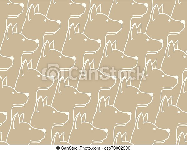 Dog Seamless Pattern pet puppy isolated illustration repeat wallpaper tile background - csp73002390