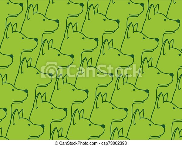 Dog Seamless Pattern pet puppy isolated illustration repeat wallpaper tile background - csp73002393
