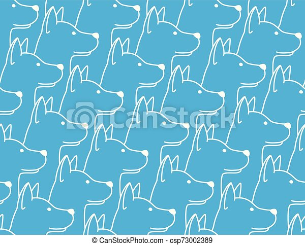 Dog Seamless Pattern pet puppy isolated illustration repeat wallpaper tile background blue - csp73002389