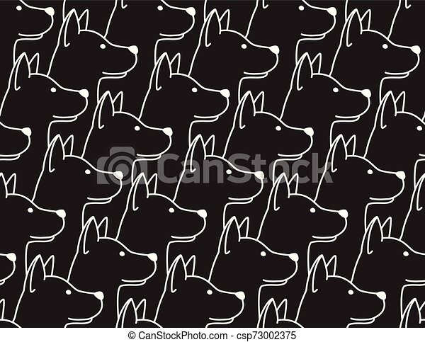Dog Seamless Pattern pet puppy isolated illustration repeat wallpaper tile background black - csp73002375