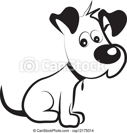 Dog shy terrier silhouette vector - csp12175014