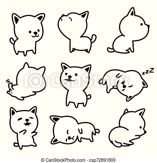 Dog vector breed french bulldog Puppy illustrations white - csp72891800