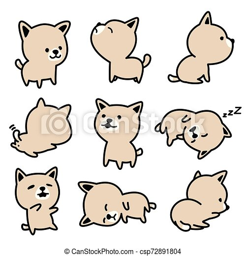 Dog vector french bulldog character icon breed Puppy illustrations white - csp72891804