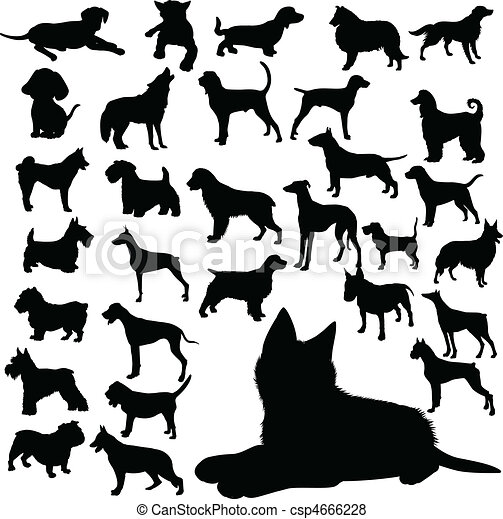 dogs vector silhouettes - csp4666228