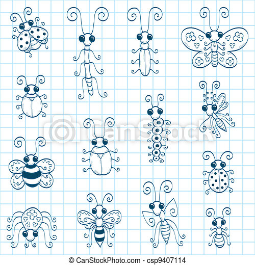 Doodle insects - csp9407114