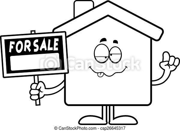 Drunk Cartoon Home Sale - csp26645317